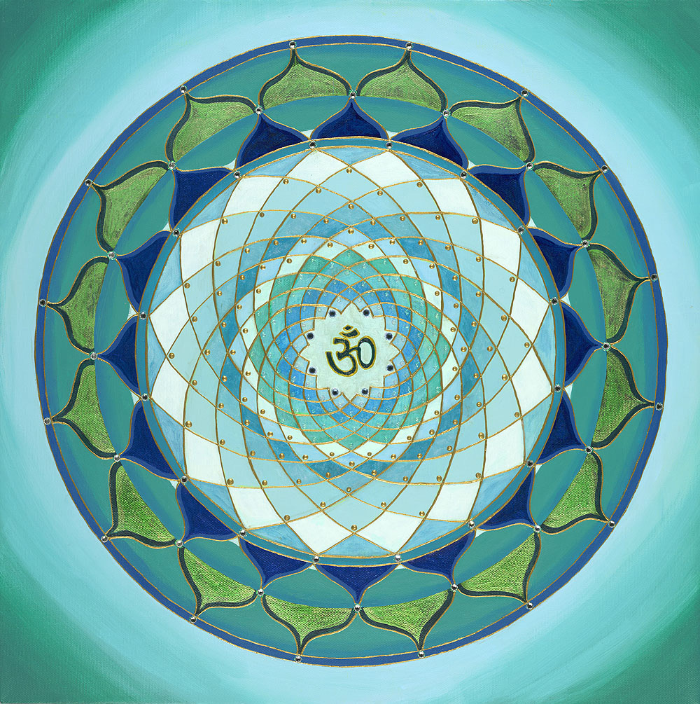 Blue Green Om Mandala - commission for Diablo Yoga Center